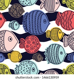 Decorative fish and waves. Seamless pattern can be used for wallpaper, pattern fills, web page background, surface textures.