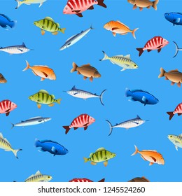 Decorative fishes on colored background seamless pattern