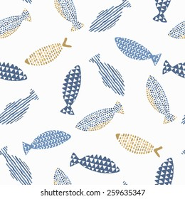 Decorative fishes pattern seamless in vector