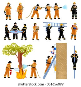 Decorative flat color icons set of firefighter people extinguishing fire with firehose and saving children vector illustration