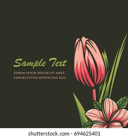 Decorative floral background with flower of tulip - Vector Illustration