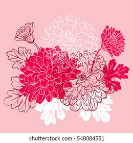 Decorative floral background with flowers of chrysanthemum