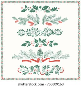 Decorative Floral Christmas Dividers and Borders with Mistletoe Leaves, Fir Branches and Twigs