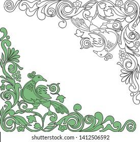 Decorative floral corners with fabulous bird