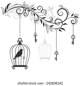 Decorative Floral Element With The Bird In Cage And Old Keys Vector Illustration