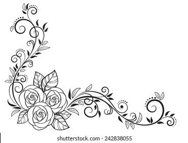 Decorative floral element with roses, isolated on white background. Vector Illustration