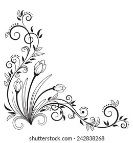 Decorative floral element with snowdrops, isolated on white background. Vector Illustration
