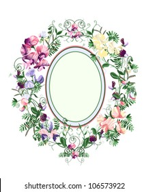 Decorative floral frame from sweet pea flowers and leafs.