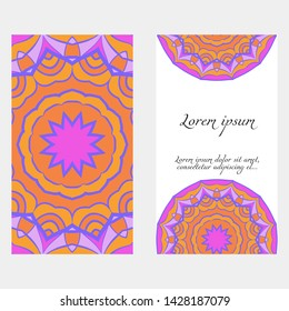 Decorative floral greeting cards in  mandala style, ethnic pattern. vector illustration
