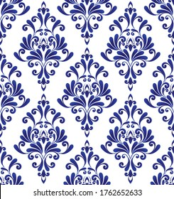 decorative floral ornament backdrop baroque style, porcelain ceramic tile, cute blue and white background for design texture, wallpaper, silk and fabric, vintage damask pattern seamless vector