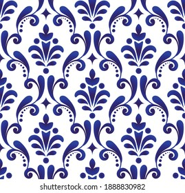 decorative floral ornament backdrop baroque style, porcelain pottery, cute blue and white ceramic background for design texture, tile, silk and fabric, vintage damask pattern seamless wallpaper vector