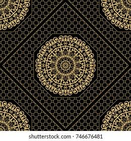 Decorative floral ornament. seamless pattern. gold color. vector illustration. Tribal Ethnic Arabic, Indian, motif. for interior design, wallpaper, invitation