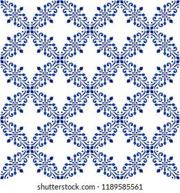 decorative floral pattern blue and white, Porcelain background, beautiful ceramic tile design, ceiling backdrop damask style, vector illustration