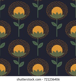 Decorative floral pattern on dark background. Cute dandelion with decorative dots seamless background. Fashion scandinavian style design for fabric, wallpaper, textile and decor.