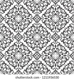 Decorative floral pattern with swirls and flowers. Design for cover, fabric, paper, packaging, wallpaper. Black and White