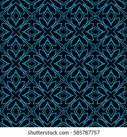 decorative floral seamless pattern. black, blue color. vector illustration. for invitation, greeting card, wallpaper, interior design