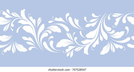 Decorative floral seamless pattern with flowers. The design of the ribbons, edges, decoration card, cover, fabric, paper, wrapping, wallpaper. The lacy border is hand drawing. Lace ornament.