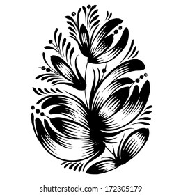 decorative floral silhouette Easter egg