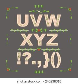 Decorative floral vector font. Letters U-Z