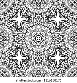 Decorative floral wallpaper for interior design. Modern geometric ornament. Seamless vector bohemian illustration