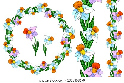 Decorative floral wreath. Vector floral template for decorating greeting cards, coloring books, art therapy, anti stress, print for t-shirt and textile.