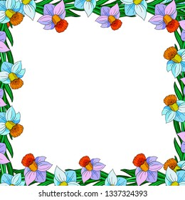 Decorative flower frame. Vector floral template for decorating greeting cards, wedding invitation, coloring books,  print for t-shirt and textile.