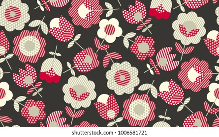 Decorative flower vector illustration in retro colors. red and gray vintage palette seamless pattern.