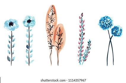 Decorative  flowers, atumn trees and branches set, design elements. Can be used for cards, invitations, banners, posters, print design. Floral background in watercolor style