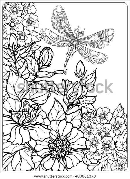 Decorative Flowers Birds Butterflies Coloring Book Stock Vector Royalty Free 400081378