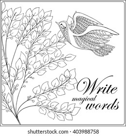 Decorative Flowers Birds Coloring Book Adult Stock Vector 403988773 ...