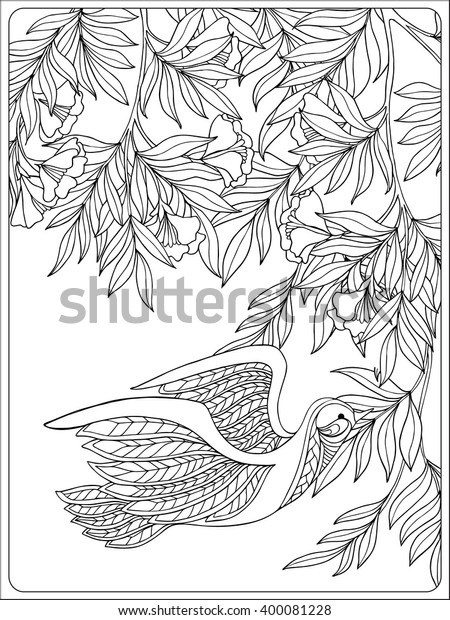 Decorative Flowers Birds Coloring Book Adult Stock ...