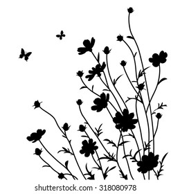 Decorative flowers silhouette. Cosmos bipinnatus