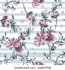 decorative flowers with stripe on a white background