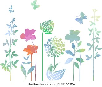 Decorative flowers in watercolor style