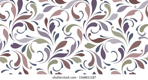 Decorative flowery pattern with swirly lines. Seamless floral background for textile, wallpapers, wrapping, paper. Plant ornament.