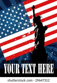 Decorative flyer. Statue of liberty with American flag.
