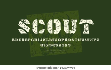Decorative font in the style of handmade graphics. Letters and numbers with vintage texture for logo and title design. Print on green background