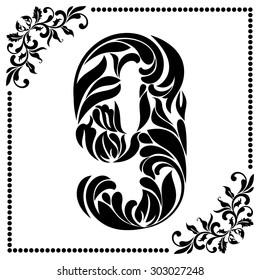 Decorative Font with swirls and floral elements. Ornate decorated digit nine on white background.