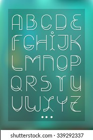Decorative font with wide elements and strokes. Fashion font. Alphabet. One of color versions with holes. Blue gradient on background