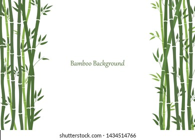 Decorative frame with bamboo stalks. Minimalistic style. Green stems and bamboo leaves. White background with a place for an inscription. Vector illustration.