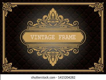 decorative frame with beautiful filigree and retro border in vintage style for luxury postcard , certificate,  premium invitation or wedding card on ancient background, ornament vector