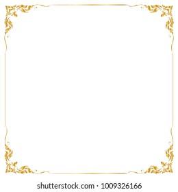 Decorative frame and border , Square, Golden frame on white background, Vector illustration