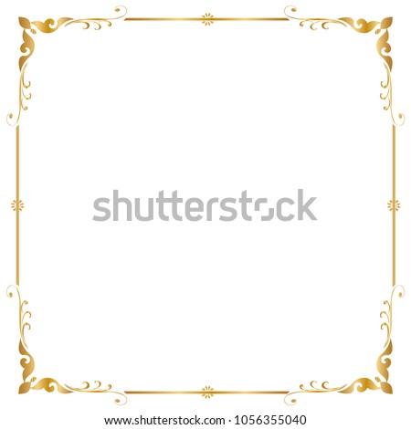 gold frame border square. Decorative Frame And Border, Square Frame, Golden Vector Illustration Gold Border Square G