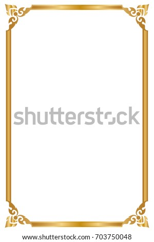 Decorative Frame Borders Golden Frame On Stock Vector (Royalty Free ...