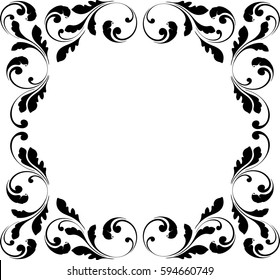 Decorative frame. Floral swirls and flowers. Border for the cover.