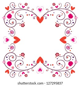 decorative frame with hearts & flowers