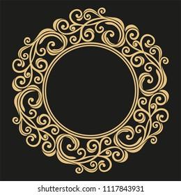 Decorative frame line art Elegant vector for element design in Eastern style Floral border Lace illustration. invitations and greeting cards