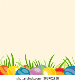 Decorative frame of painted Easter eggs.