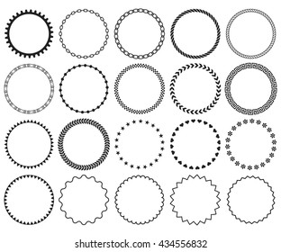 Decorative frame set.  Collection of vector circle patterns. Blank elements for holiday design. Border decoration for greeting cards, invitations. Black round labels isolated on white background.