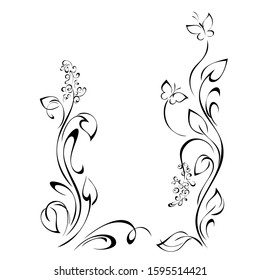 decorative frame with stylized flowers on stems with leaves, butterflies and vignettes in black lines on a white background